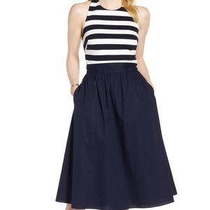 1901 striped halter navy & white midi dress